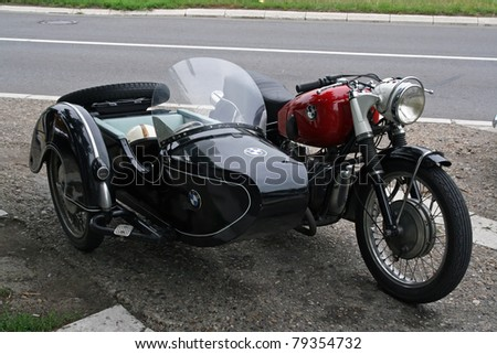 BELGRADE - JUNE 11: A BMW Motorcycle R67 at the Oldtimer's Motor Show June 11, 2011 in Belgrade, Serbia.