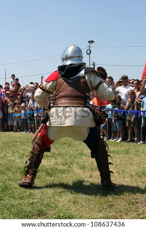 BELGRADE - JUNE 3: A pikeman ready for fight on annual knight tournament on June 3, 2012 in Belgrade, Serbia. - stock photo