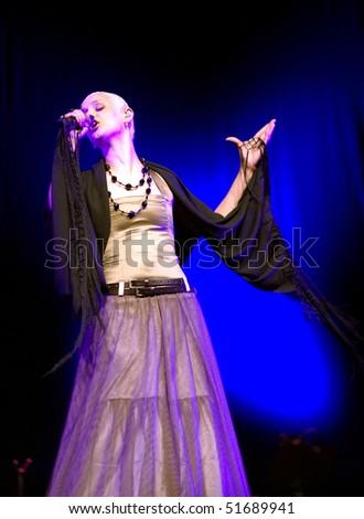BELGRADE - JUNE 6: Fado singer, Mariza, sings during concert  June 6, 2005 in Belgrade, Serbia. - stock photo