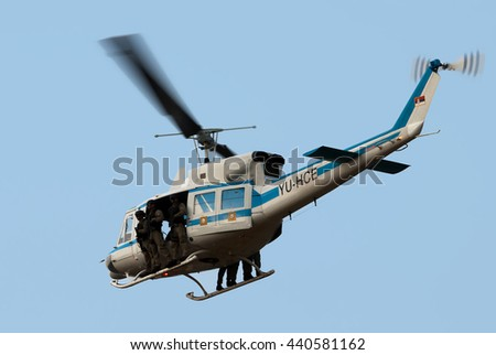 """BELGRADE-JUNE20:Helicopter of special Serbian police unit on """"Celebration of Serbian Police day"""". On June 20,2016 in Belgrade,Serbia - stock photo"""
