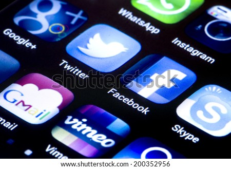 BELGRADE - JUNE 23, 2014 Popular social media icons twitter facebook and other on smart phone screen close up - stock photo