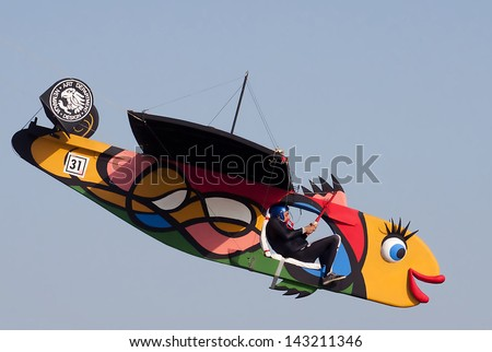 "BELGRADE-JUNE 22:Unidentified competitor as pilot with home-made craft on the""1st Red Bull Flugtag in Serbia"".June 22,2013 in Belgrade, Serbia - stock photo"