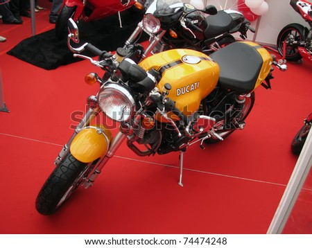 "BELGRADE - MARCH 14: A Ducati SportClassic Sport 1000 monoposto on a display at 6th International motorcycle show ""Motopassion"" on March 14, 2008 in Belgrade, Serbia."