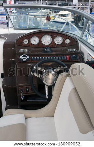 "BELGRADE-MARCH 9:All controls on the yacht at the ""35th International Nautic Show"". March 9,2013 in Belgrade, Serbia"