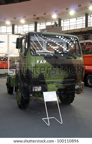 BELGRADE - MARCH 29: An FAP army truck on display at the 50th International Car Show on March 29, 2012 in Belgrade, Serbia.