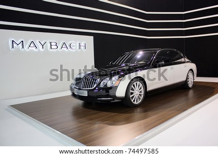 BELGRADE-MARCH 31: Mercedes Benz Maybach luxury car showcased at the 2011 Belgrade International Auto Show MSA (OICA). March 31,2011 in Belgrade,Serbia. - stock photo