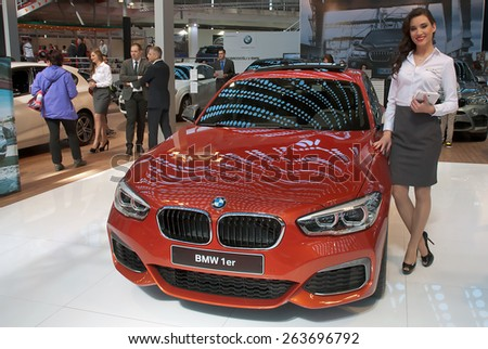 "BELGRADE-MARCH 21:""52th INTERNATIONAL MOTOR SHOW "".Car BMW 1er on Belgrade car show.March 21,2015 in Belgrade,Serbia. - stock photo"