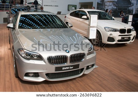 "BELGRADE-MARCH 21:""52th INTERNATIONAL MOTOR SHOW "".Car BMW 5er on Belgrade car show.March 21,2015 in Belgrade,Serbia. - stock photo"
