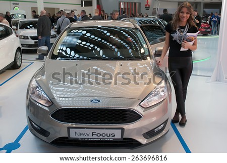 "BELGRADE-MARCH 21:""52th INTERNATIONAL MOTOR SHOW "".Car Ford New Focus on Belgrade car show.March 21,2015 in Belgrade,Serbia. - stock photo"