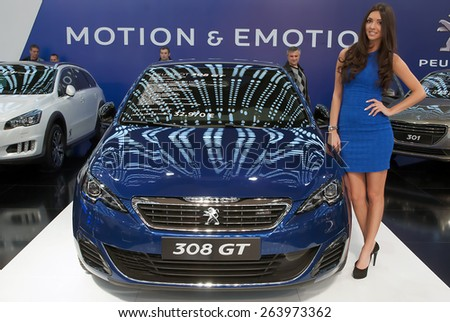 "BELGRADE-MARCH 21:""52th INTERNATIONAL MOTOR SHOW "".Car Peugeot 308 GT on Belgrade car show.March 21,2015 in Belgrade,Serbia. - stock photo"