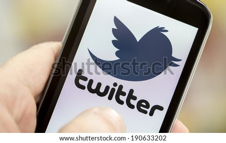 BELGRADE - MAY 03, 2014 Logo of popular social media website Twitter on smart phone screen - stock photo