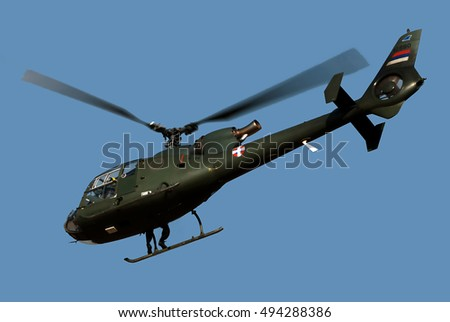 "BELGRADE-OCTOBER 1:Helicopter Gazelle in flight. ""Open day of the 204th Aviation Brigade Serbian Air Force "".October 1,2016 in Belgrade,Serbia"