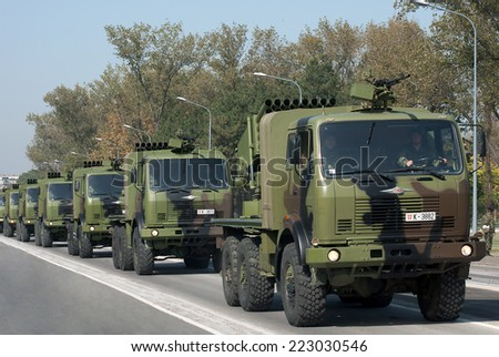 BELGRADE-OCTOBER12:128 mm M77 OGANJ Self-propelled Rocket Launcher .On preparations for the parade Serbian Army.On October 12,2014 in Belgrade,Serbia  - stock photo