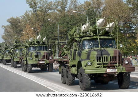 "BELGRADE-OCTOBER12: SA-6 ""Gainful"" Air Defense Missile System .On preparations for the parade Serbian Army.On October 12,2014 in Belgrade,Serbia  - stock photo"