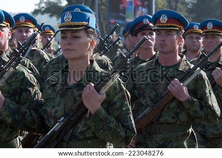 BELGRADE-OCTOBER12:Serbian Army Guards practiced ceremonial step.On preparations for the parade Serbian Army.On October 12,2014 in Belgrade,Serbia  - stock photo