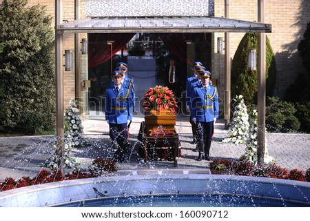BELGRADE-OCTOBER 26:The casket bearing the body of Jovanka Broz,widow of the Yugoslav leader Josip Broz Tito sits in front of House of Flowers memorial complex before the funeral in Belgrade,Serbia - stock photo