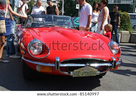 BELGRADE - SEPTEMBER 3: A Jaguar E type at the Oldtimer's Motor Show September 3, 2011 in Belgrade, Serbia.