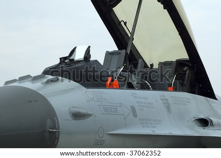 BELGRADE - SEPTEMBER 13: BATAJNICA 2009 INTERNATIONAL AIR SHOW F-16 FIGHTING FALCON cockpit with ejection seat September 13, 2009 in Batajnica, Belgrade, Serbia