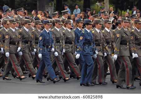BELGRADE - SEPTEMBER 11th:Promotion of new Serbian army officers,Girl cadet unit in march,September 11, 2010 in Belgrade, Serbia