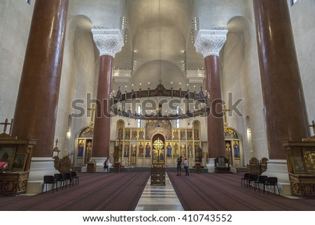 Belgrade, Serbia - April 17, 2016: Interior view of Saint Mark's Orthodox church in Tashmajdan Park, Belgrade. The church in Serbo-Byzantine style was completed in 1940.