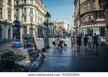 Belgrade, Serbia - August 29, 2015. People walks at Knez Mihailova (english: Prince Michael) Street in Belgrade city - stock photo