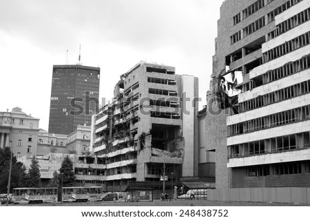 BELGRADE, SERBIA - AUGUST 01: ruins of Ministry of Defense building bombed by NATO in 1999. Shot in 2014 - stock photo