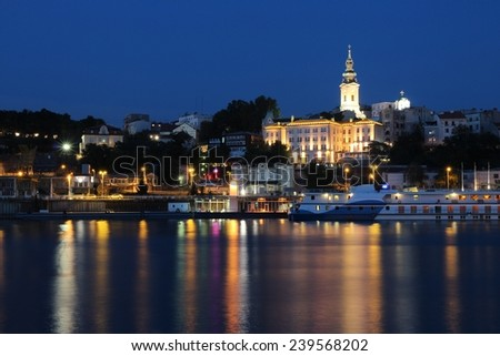 Belgrade, Serbia - capital city view at night. Illuminated cityscape.