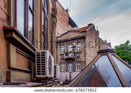 Belgrade, Serbia, July - 02. 2017. Image of facades and roofs in old Balkan street in the heart of Belgrade