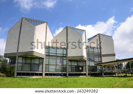 BELGRADE, SERBIA, JULY 3,2014: Museum of Contemporary Art in Belgrade is an art institution which collects and displays work produced since in 1900 in Serbia and former Yugoslavia.  - stock photo