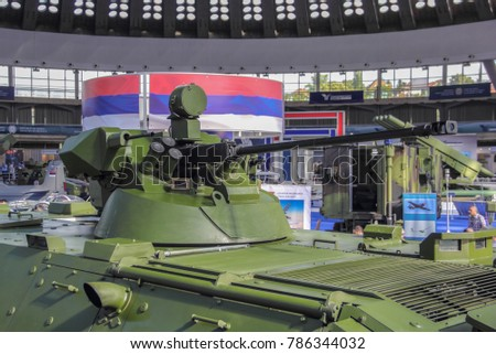 Belgrade; Serbia; June 6, 2017; International Armament Fair; Anti Aircraft Gun mounted on the military vehicle.