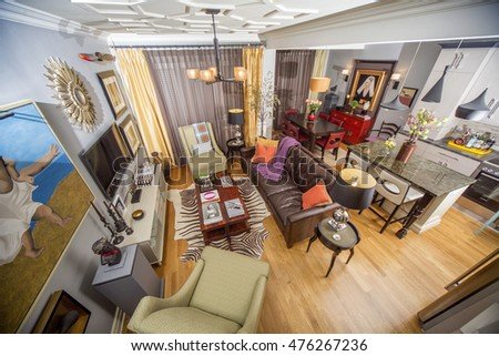 BELGRADE, SERBIA - MARCH 14, 2015: Detail of the luxury interior of the apartment.