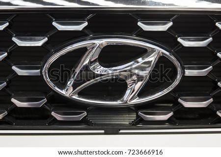 BELGRADE, SERBIA - MARCH 28, 2017: Logo from Hyundai car in Belgrade, Serbia.Hyundai is South Korean multinational automotive manufacturer headquartered in Seoul