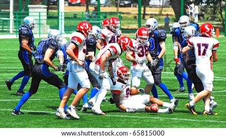 BELGRADE, SERBIA - MAY 17: Blue Dragon play American football against the Italian team from Bologna Stracciari, May 17, 2009 in Belgrade, Serbia