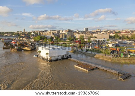 BELGRADE, SERBIA - MAY 17: Preparing for floods in Belgrade on MAY 17, 2013. Preparing sandbags flood barrier at River Sava banks in Belgrade, Serbia. - stock photo