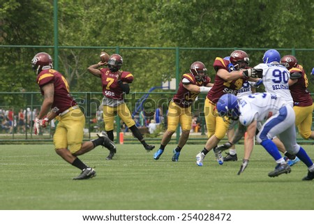 Belgrade, Serbia - May 05, 2014: Team the Wolves in action. American Football Match Between Belgrade Wolves And Blue Dragon in Belgrade. The Wolves team is winner.