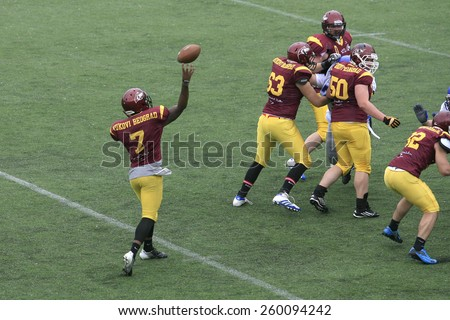 Belgrade, Serbia - May 05, 2014: Team the Wolves in action. American Football Match Between Belgrade Wolves And Blue Dragon in Belgrade. The Wolves team is winner. - stock photo