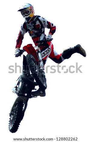 "BELGRADE, SERBIA- MAY 31: The spectacular jumps of  freestyle biker on the  ""Red Bull X Fighters International Freestyle Motocross Exhibition Tour"",  May 31,2009 in Belgrade, Serbia - stock photo"
