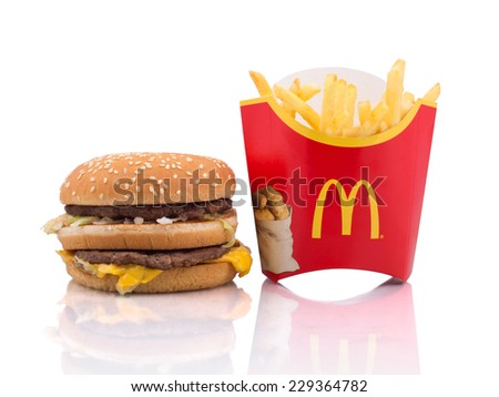 BELGRADE, SERBIA - NOVEMBER 5, 2014: Big Mac and French fries on white background. - stock photo