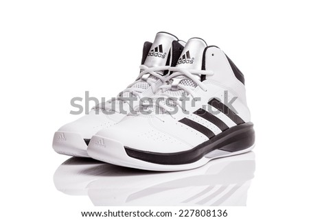 adidas basketball shoes white. belgrade, serbia - october 30, 2014: new adidas isolation 2, basketball shoes white h