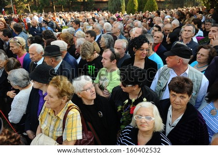 Belgrade, Serbia - October 26, 2013: People at funeral of Jovanka. Jovanka Broz, Yugoslavia's former First Lady built by her husband Josip Broz Tito in the House of Flowers mausoleum.