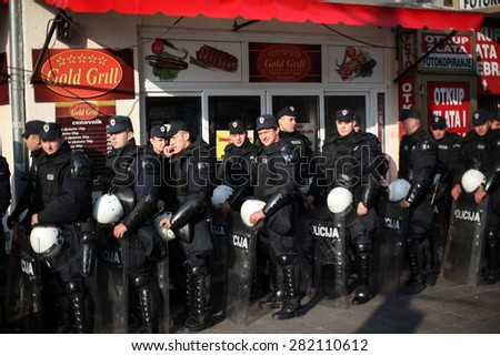 Belgrade, Serbia - October 10, 2010: Riot police block a street during the gay pride parade - stock photo