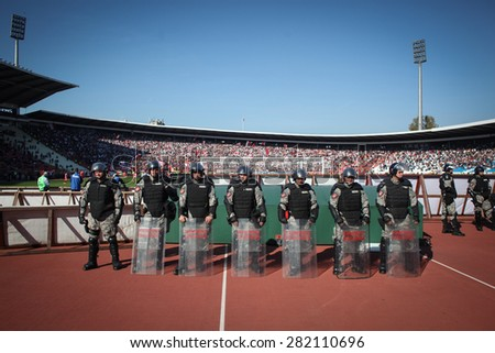 Belgrade, Serbia - October 23, 2010: Riot police protect the football field during a derby between Red Star and Partizan. - stock photo