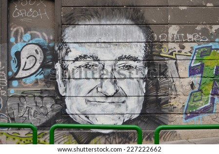 BELGRADE, SERBIA - OCTOBER 5, 2014: Robin Williams appeared on graphite in Karadjordjeva street in Belgrade, Serbia, on August 12 2014, the day after Williams committed suicide - stock photo