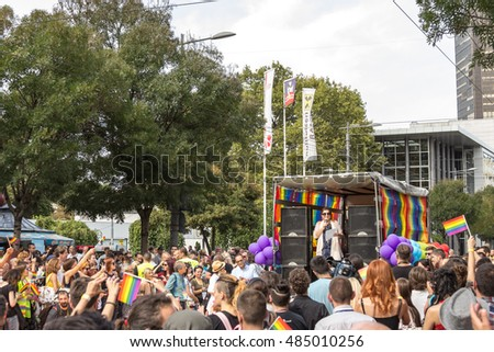 BELGRADE, SERBIA - 18, 2016: People demonstrating in favour of LGBT rights during the 2016 Belgrade Gay Pride.
