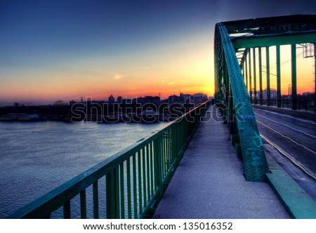 Belgrade train bridge in sunset time. Shoot in hdr technique - stock photo