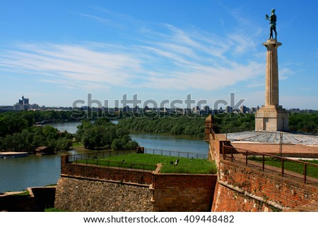 Belgrade with the beautiful view on the Kalemegdan and the Pobednik monument - stock photo