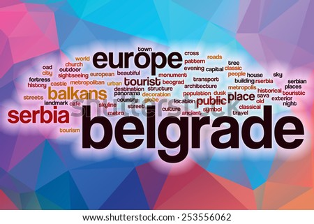 Belgrade word cloud concept with abstract background - stock photo