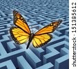 Believe in yourself concept and metaphor for success with a monarch butterfly flying over a complicated maze or labyrinth to rise above adversity or obstacles as a human lifestyle and business idea. - stock photo