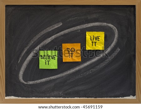 believe it, do it, live it - motivational concept on blackboard, color sticky notes and white chalk drawing - stock photo