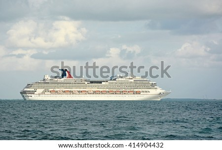 BELIZE, CENTRAL AMERICA- APRIL 11, 2016: Big docked cruise liner - stock photo